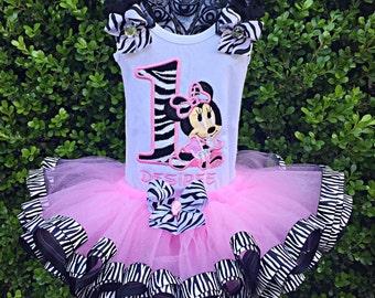 Zebra minnie tutu set 3 piece