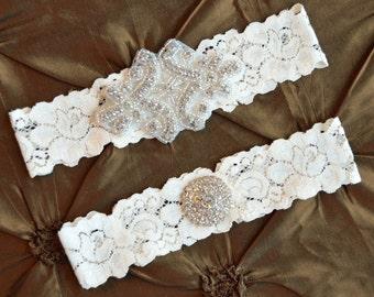 Rhinestone Weddig Garter, Crystal Bridal Garter Set, ivory Lace Garter, Keepsake Garter, Toss Garter, Crystal Wedding Garter