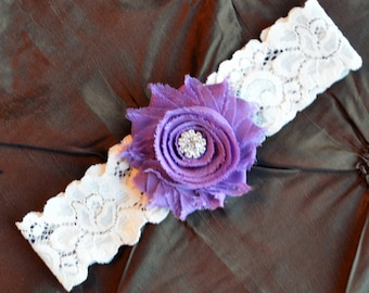 Wedding Garter, Bridal Garte,r Ivory Lace Garter, Toss Garter, Wedding Garter Belt, Toss Garter, Purple Garter