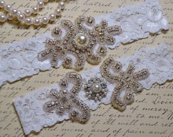 Wedding Garter, Bridal Garter, Garter Set, Stretch Lace Garter, Crystal Rhinestone Garter, Plus Size Garter, Vintage  Garter