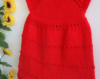 Baby girl red knit dress, holiday dress, Christmas dress