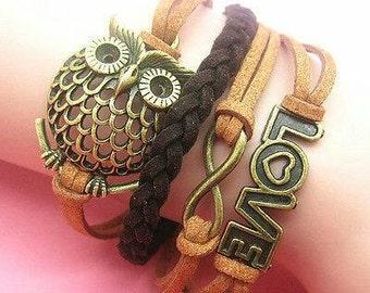 Infinity Brown Love Owl Leather Bracelet