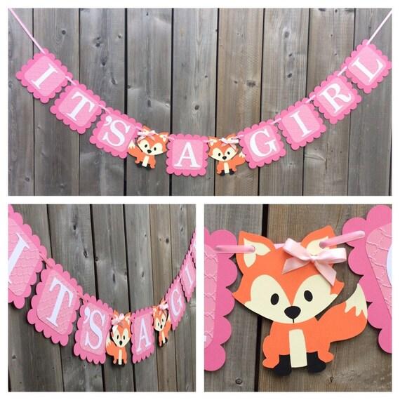 It 39 s a girl fox banner fox shower banner fox themed for It s a girl dekoration