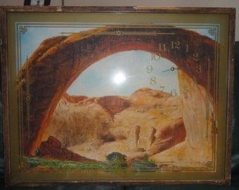 Vintage Oil on Board/Arch of Utah National Park/ Signed/ Clock