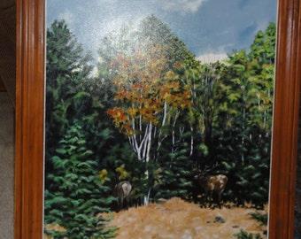Huge Vintage Elk and Aspen Trees Oil Painting