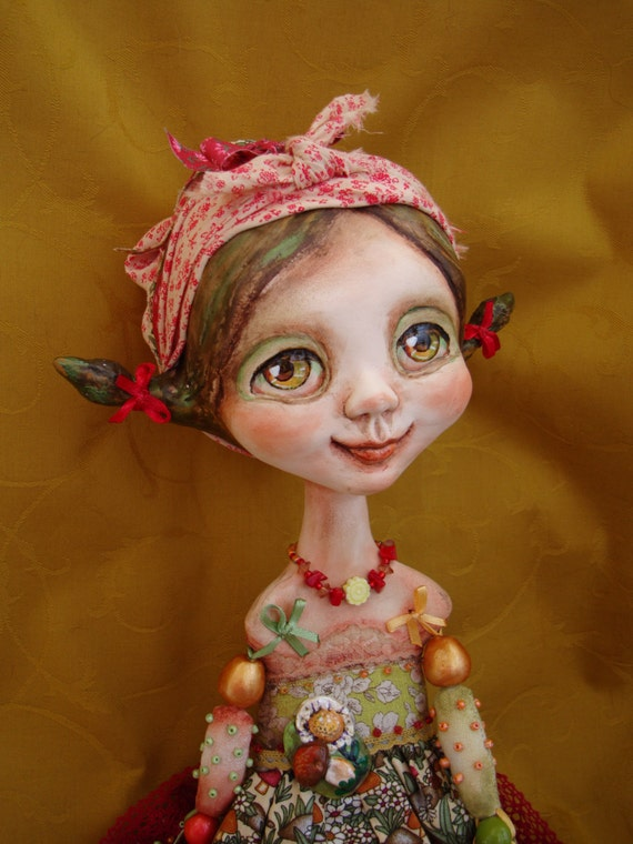 """Summer girl art doll - Big eyed country girl - Ooak interior poseable doll - Collectible doll as gift - """"Mushroom & Daisy"""""""