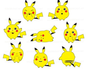 Cute Pika, Pokemon Inspired, Pokemon Clipart, Cute Pikachu, Kawaii Pikachu, Kawaii Clipart, Personal and Commercial Use