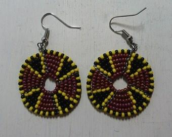 "Maasai Earrings ""Imuna""- Burgundy,Black and Yellow"