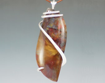 Large Red Gold Pietersite Freeform Cold Forged Sterling Silver Pendant