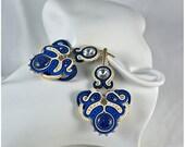 SALE!!! Soutache earrings Frozen - blue earrings, gift for woman, blue soutache, soutache embroidery, wedding earrings, gift for her
