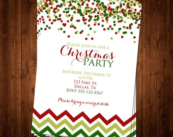 SALE 50% OFF Christmas Dot & Chevron Invitation