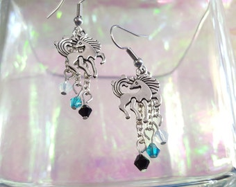 Unicorn earrings with black/multicolor, blue and Opal beads.
