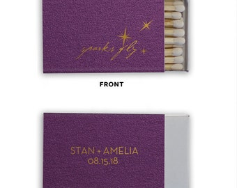 SPARKS FLY Personalized Match Boxes - Favors, Party Favors, Custom Matches, Foil Stamped Match Box Favors