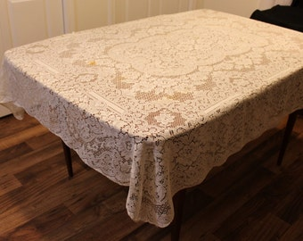 Off White Lace Tablecloth