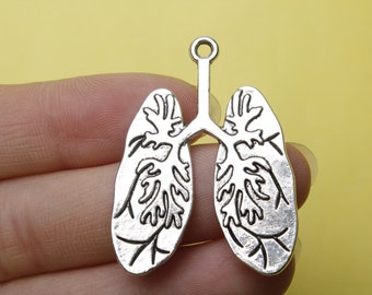 silver lung charms body parts metal jewelry supplies 39*30mm