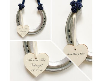 Something blue customised lucky wedding horseshoe personalised traditional wedding gift