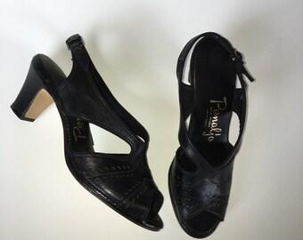 Penaljo Leather Cutout Peep Toe Heel Vintage Shoes size 6