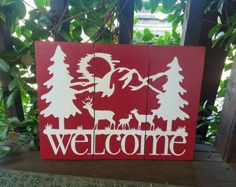 RESERVED: Welcome sign, deer sign, cabin wood sign, front porch sign, welcome wood sign, forest and deer sign, handmade wooden welcome sign,