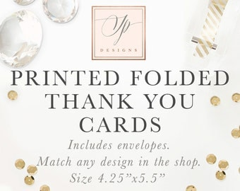 Printed Folded Thank You Cards - Made to Match Any Design in the Shop - Sea Paper Designs