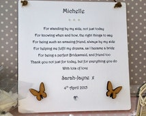 Bridesmaid Wedding Gift Personalised, Thank You Poem Gift from the ...