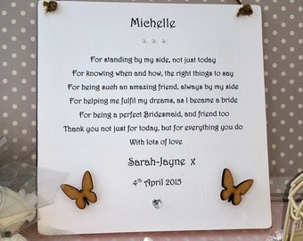 Bridesmaid Gift Wedding Plaque Personalised Maid Of Honor From Bride