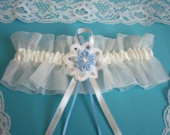 Ivory wedding garter bridal garter organza with something blue and flower diamantes
