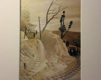 """Vintage Eric Ravilious lámina """"Tren de vapor redondeo una curva"""" maravillosamente enmarañado y montado"""
