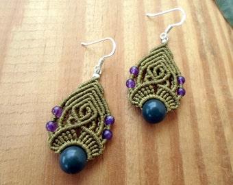 Moss agate macrame earrings, boho jewelry, beaded earrings, micro macrame, gemstone earrings, macrame stone, amethyst earrings, macrame