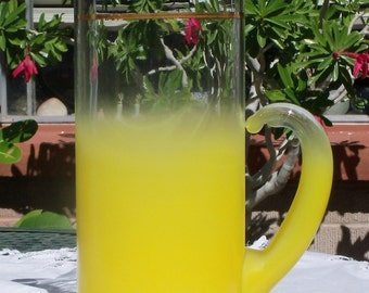 West Virginia Glass Blendo Large Yellow Pitcher