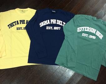 Sorority/School/Team Varsity Comfort Colors Long Sleeve T-shirt