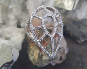 14K White Geometric Ring with Diamonds