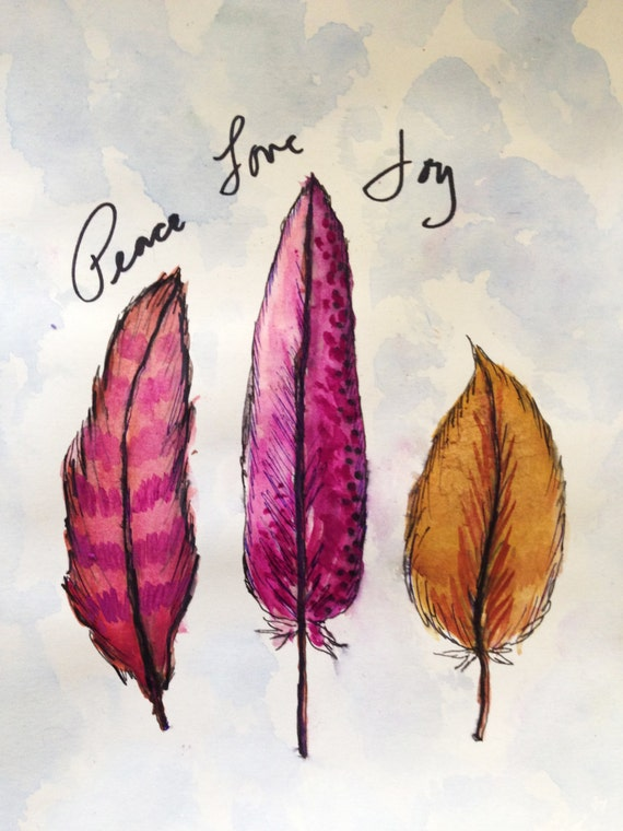 Boho Feather Peach Love Joy Watercolor Painting Artwork Print