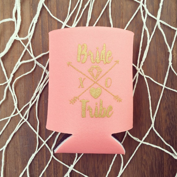 NEW! Bride Tribe Can Coolers | Boho Bachelorette Party Favors, Coral + Gold Arrow Bride Tribe Drink Cooler Favors, Beer Bottle Can Coolers