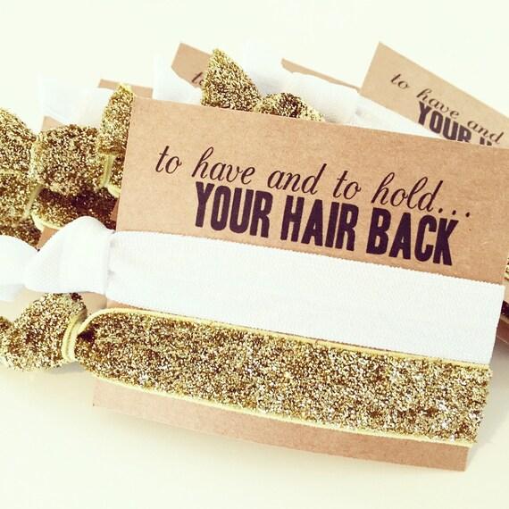 CHOOSE YOUR COLORS Hair Tie Bridal Shower Favor | White + Gold Glitter Hair Tie Favor, Custom Bridal Shower Favors, Gold Bridesmaid Gift