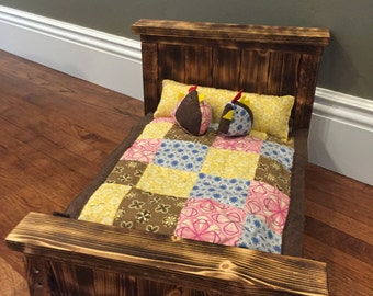 """Handmade 18"""" doll bed with bedding"""