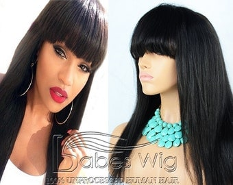 100% brazilian hair long hairstyles black wig with bangs human hair lace front wigs with bangs