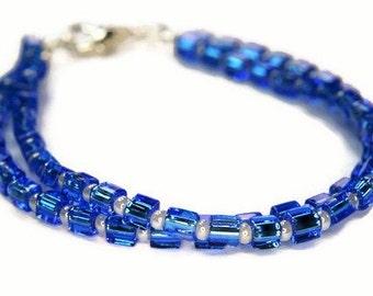 Lustre Bracelet in Blue, Blue Bracelet, Multi Strand Bracelet, Cube Bracelet, Glass Bracelet