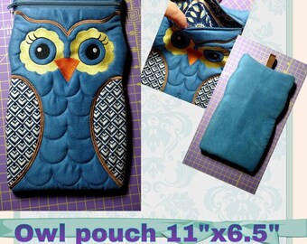 """Machine-embroidered ereader, iphone, tablet  Owl Pouch 11""""x6.5"""" Ultrasuede with zipper fully lined  gift idea"""