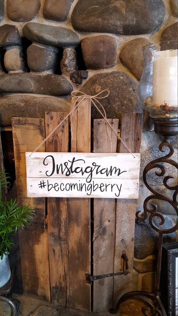 Instagram wedding sign wedding decor hashtag sign wood for Decor hashtags