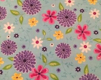Blue Floral 100% Flannel