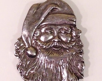 Vintage Pewter Santa Claus Christmas Tree Ornament