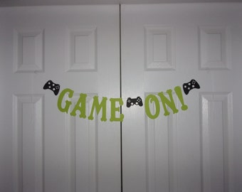 GAME ON! Letter Banner - Lime Green & Black Cardstock Paper Controller Garland - Video Gaming Birthday Party Wall Decoration