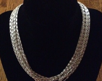 Vintage Sarah Coventry Silver Tone Multi Strand Chain Necklace / Lightweight