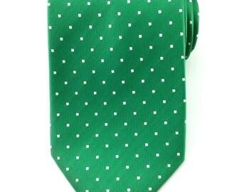 Mens Necktie Green with White Polka Dots  Necktie 8.5cm Party Tie.Casual Tie.Handmade Tie.Polka dot tie. Green tie.Formal Tie.Business Tie.