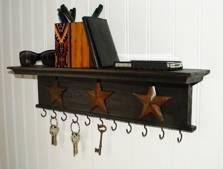 Key Holder Wall Shelf Modern Rustic Wood Handmade Black Finish