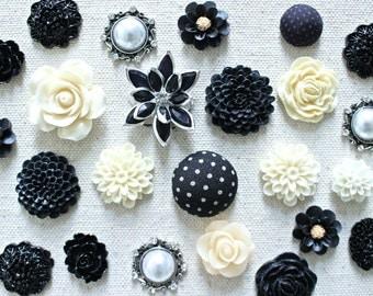 Black and Ivory Flower Thumbtack, Office Pushpin Set, Corkboard Pin, Useful Office Gifts, Black Push Pin, Ivory Flower Tacks, Black Flower