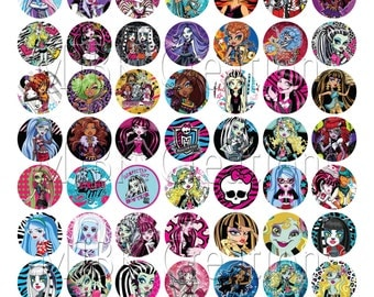 "Monster High 1"" Bottle Cap Images - 8.5 x 11 Digital Collage Sheet - Instant Download"