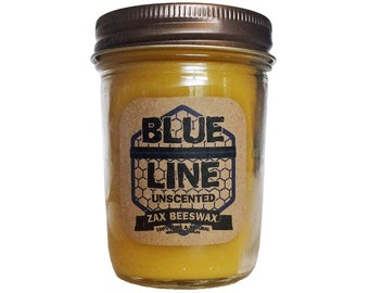 """Blue Line """"Natural Unscented"""" Scented Beeswax Mason Jar Candle 