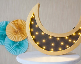 Gift for boyfriend Gift for her Night light Baby shower Lamp Moon Battery Operated Light Marquee lamp Moon nursery