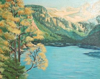 Vintage oil painting mountain lake landscape signed